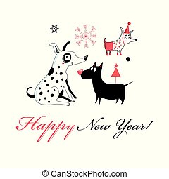 New Year greeting card with cheerful dogs