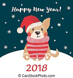 new year greeting card with cute dog
