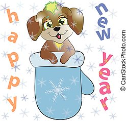 new year greeting card with dog and mitten vector illustration.