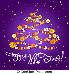 New Year greeting card with flowers