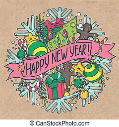 New Year greeting card with holiday stuff