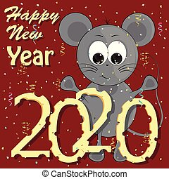 new year greeting card with mouse. cartoon vector illustration.