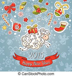 New year greeting card with sheep