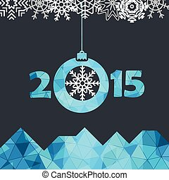 New Year greeting card with snowflakes