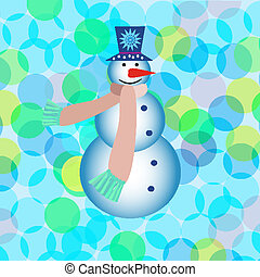 New year greeting card with snowman