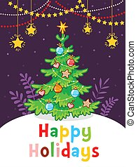 New Year greeting card with the inscription. Christmas tree with garlands.