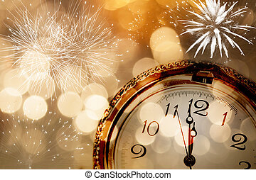 New Year greeting card with vintage clock and holiday lights...