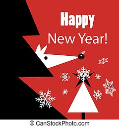 New year greeting vector card with a mouse