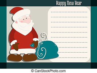 new year greetings with santa claus