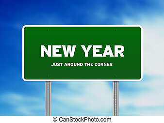 New year Highway Sign - Green New year highway sign on Cloud...