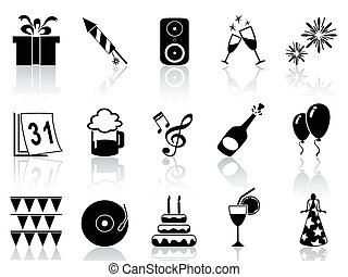 new year holiday icons set - isolated black new year icons...
