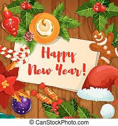 New Year holidays greeting card