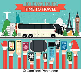 New Year Holidays World Tours design flat with tourist bus
