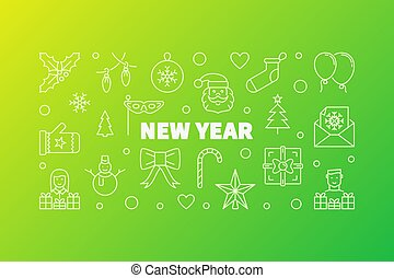 New Year horizontal illustration. Vector banner in line style