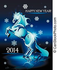 New Year horse - Abstract illustration, blue horse on blue...
