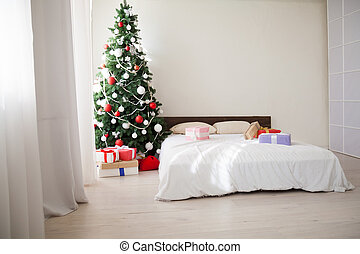 new year House bedroom bed Christmas tree holiday gifts happiness