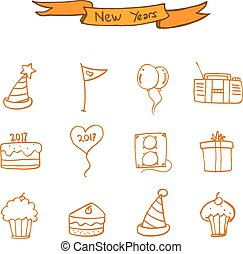New Year icons collection stock