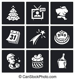 New year icons set