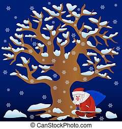 New Year illustration, Tree without leaves in winter (night) covered with snow and snowflakes and Santa Claus with bag walking, cartoon on blue background,