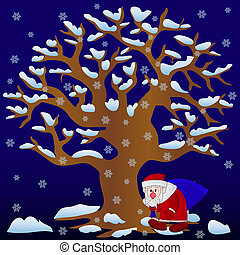 New Year illustration, Tree without leaves in winter (night) covered with snow and snowflakes and Santa Claus with bag walking, cartoon on blue background