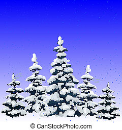 New year illustration, winter forest of pine covered with snow, cartoon on white background