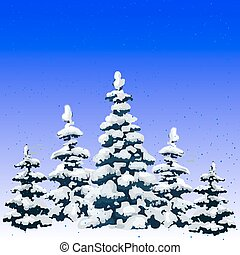 New year illustration, winter forest of pine covered with snow, cartoon on white background,