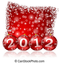 new year illustration with christmas balls