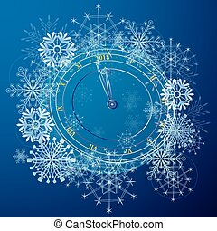 New Year illustration with clock