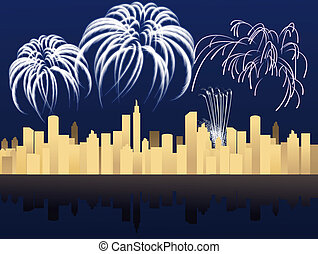 New Year in the city - New Year night with fireworks in the ...