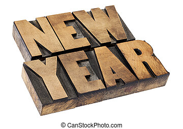 New Year in wood type