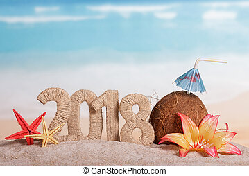 New Year inscription 2018, coconut with drinking straw and...