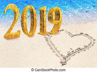 New Year inscription 2019 on the beach