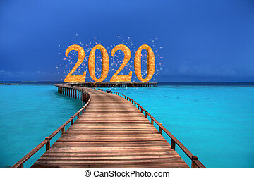 New Year inscription 2020 on the wooden road over the sea, mixed media