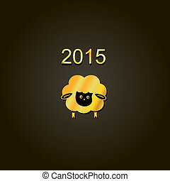 new year lamb golden design Symbol of 2015. Sheep - new year...