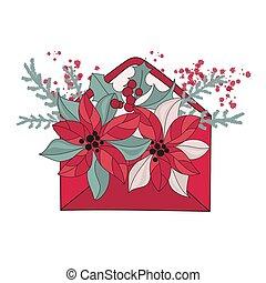 NEW YEAR LETTER Christmas Cartoon Vector Illustration Set
