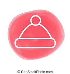 New year line icon on color marker spot, symbol for christmas design