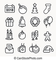 New year linear christmas icon set 2018