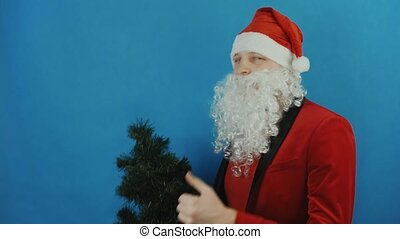 New year, man like a Santa Claus sniffs Christmas tree, shows thumb up like, on blue background