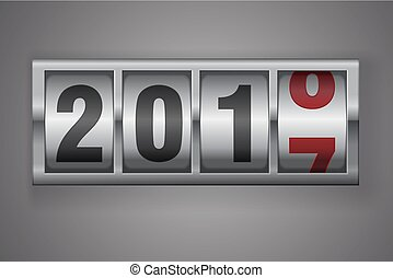 New year mechanical counter showing 2018