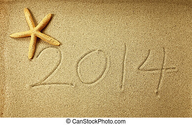 new year message 2014 on the sand beach