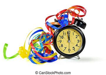 New Year midnight time on retro clock