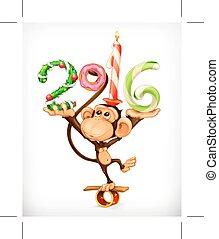 New Year monkey  - New Year, monkey  icon