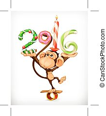 New Year monkey  - New Year, monkey  icon