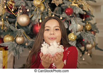 New year new goals. Cute little child girl with xmas present. happy little girl celebrate winter holiday. christmas time. happy new year. delivery christmas gifts. Christmas is coming