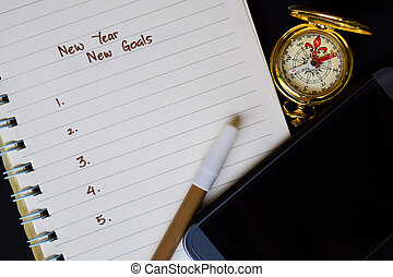 New year - New Goals text on notebook,