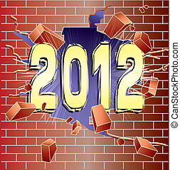 new year - New Year 2012 breaking through red brick wall