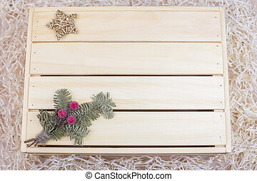 New Year's decor on a wooden background
