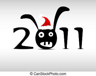 New year - New Year's Eve greetind card with rabbit