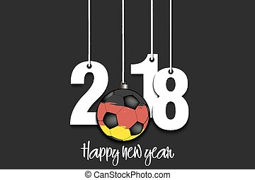 New Year numbers 2018 and soccer ball