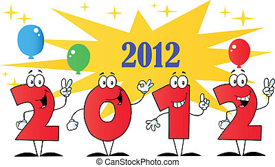 New Year Numbers Cartoon Characters
